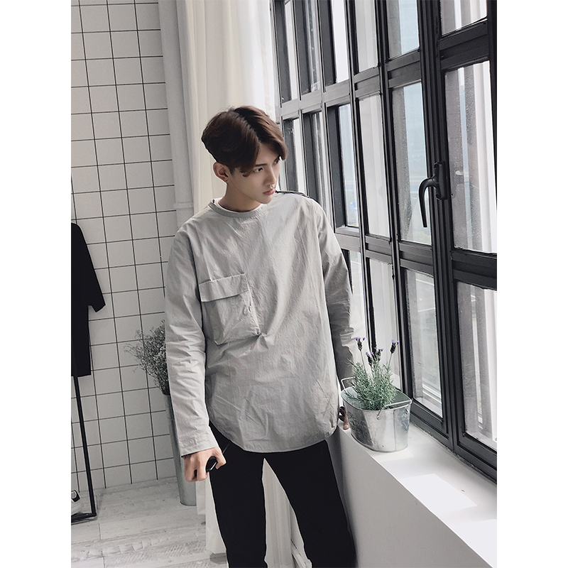 Hong Kong style small fresh Pullover Long Sleeve Shirt Mens Korean loose cotton linen casual button less round neck shirt autumn fashion