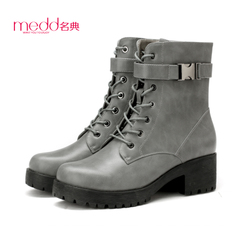 Name code 2015 fall/winter new coarse with thick round base with female belt buckle biker boots side zipper skid boots