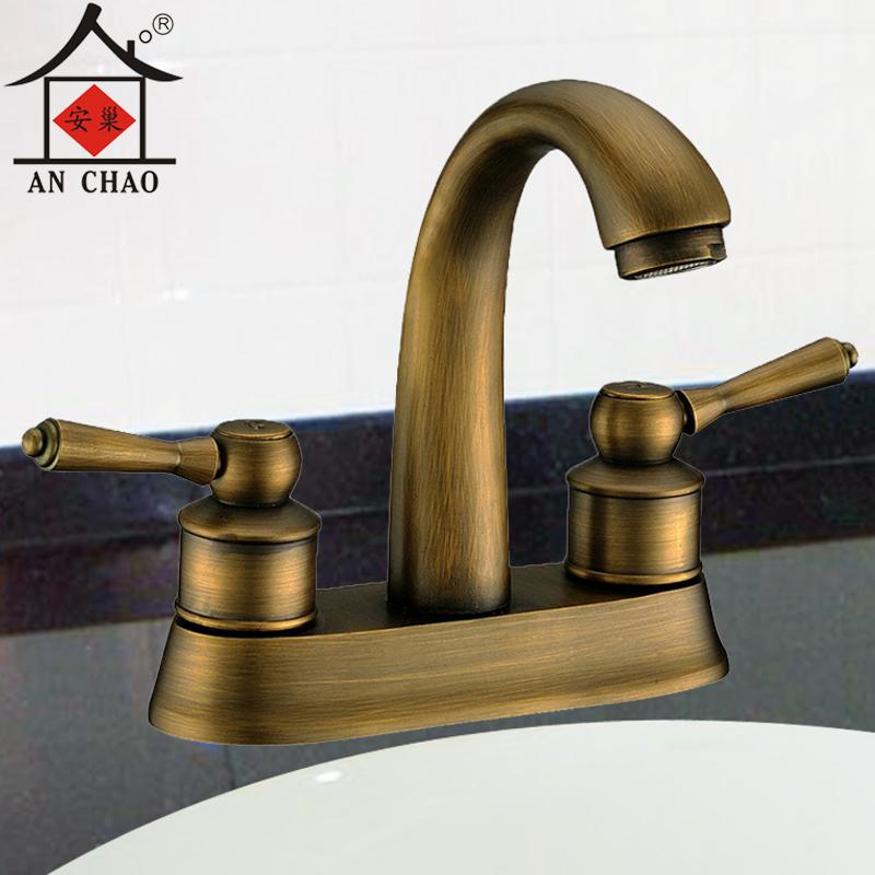 全铜欧式仿古冷热水龙头复古拉丝双把双孔台盆浴室柜洗手盆龙头