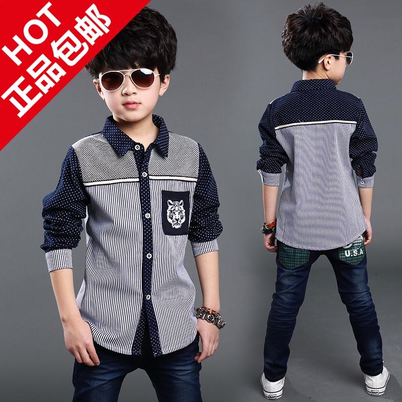 Дети попадают новые рубашки Детская одежда, 5-8-10-12 мальчиков длинный рукав рубашки 6-дюймовый мальчик отворотом пальто свитер