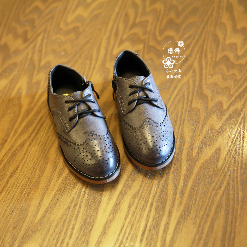Роза весной 2015 новых детей обувь классические туфли молнии полые могилы для мальчиков Англии студент обувь