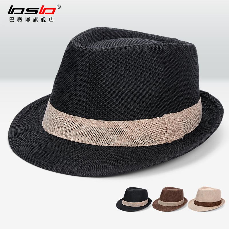 韩版户外遮阳草帽旅游沙滩太阳帽英伦男女防晒爵士礼帽绅士牛仔帽
