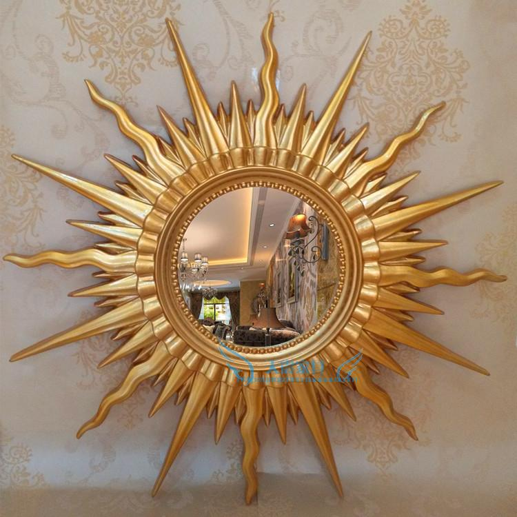 European style sun mirror KTV hotel living room porch decoration mirror frame round waterproof wall hanging bathroom mirror