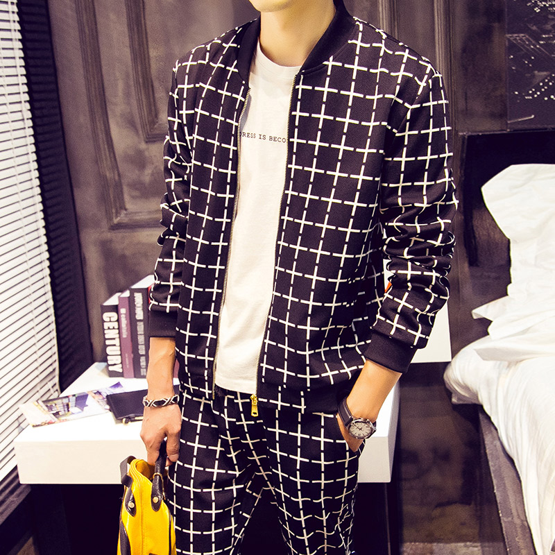 Long sleeve sweater T-shirt 5 new Korean slim fit mens sweater Plaid casual sports suit shirt jacket