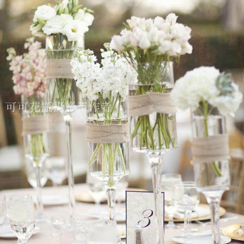 高脚直筒玻璃花瓶水培鱼缸婚庆路引 欧式蜡烛台桌花 样板房软装饰券后28.00元