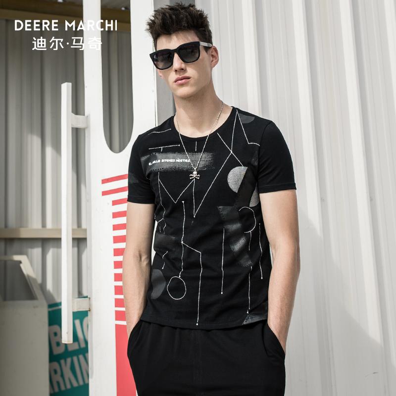 迪尔马奇夏季新款男士短袖T恤 个性�o墨线条印花修身半袖潮M01910