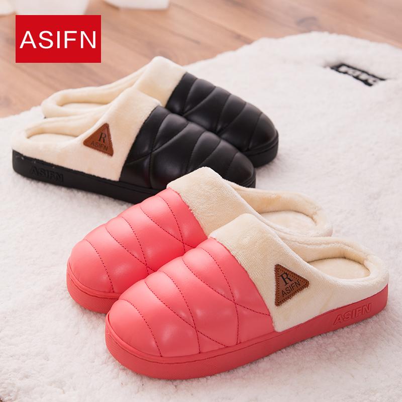防水PU皮男女家居棉拖鞋厚底防滑保暖室內情侶加厚毛絨棉拖鞋