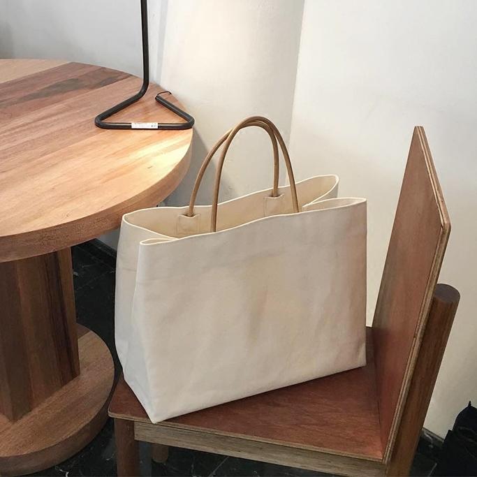 2020韩国东大门同款简约大容量帆布包ins爆款购物包手提包女大包