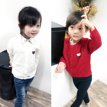 Young happy children's wear Girls cardigan joker children of new fund of 2015 autumn outfit cotton watermelon sweater sweater