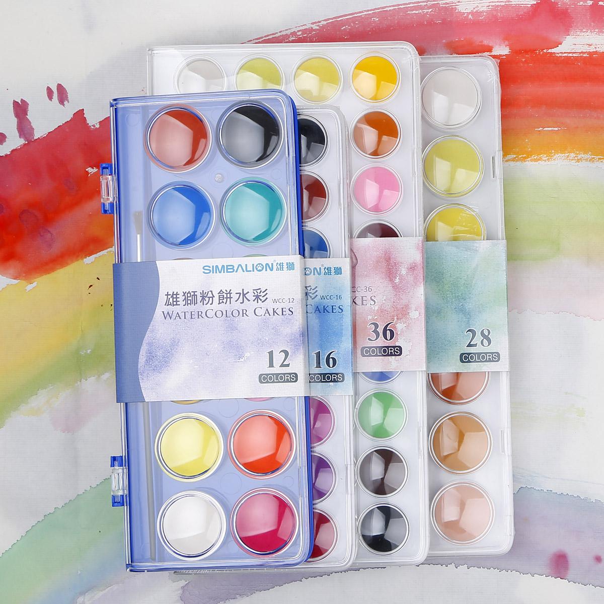 雄獅固體水彩 28色 36色 透明水彩顏料套裝 寫生粉餅水彩顏料