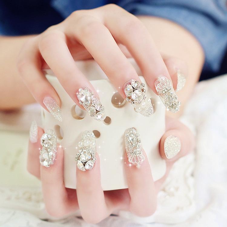 新娘美甲成品 皇冠蝴蝶結閃鑽假指甲貼片甲片 成品假指甲婚紗拍照