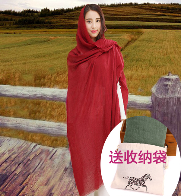 Мешок Корейский осень зима шарф шарф женщин зима долго дикие шарф твердых шарф шаль плащ Юньнань