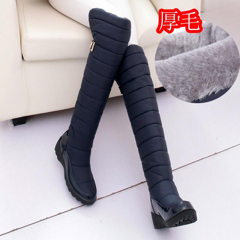 2016 новый водонепроницаемый зимние сапоги колено высокие снега сапоги женщин длинные сапоги с skid вниз зимние сапоги размер