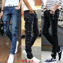 Foot straight jeans male young students crushed in the waist elastic stitching contracted the four seasons of cultivate one's morality pants