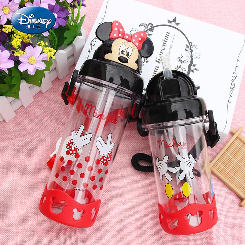 迪士尼水杯 小學生水瓶背帶吸管杯子塑料防漏米奇寶寶兒童水壺