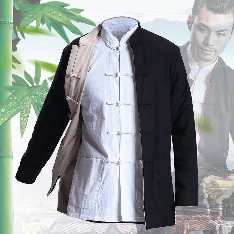 阿莫罗唐装男青年中国风改良古装男士汉服长衫居士服中式古代衣服