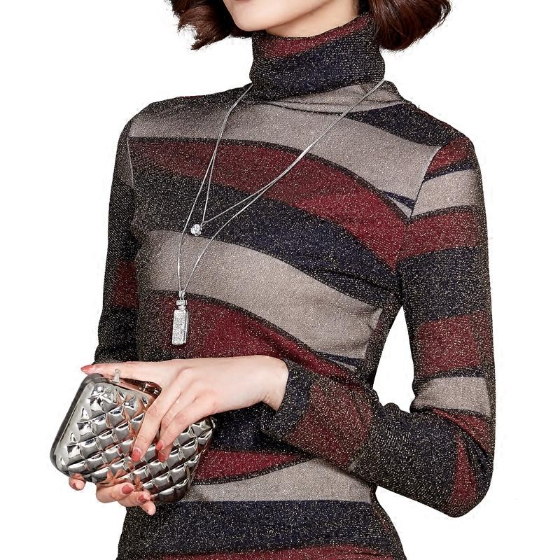 加絨高領網紗條紋加厚修身大碼針織衫