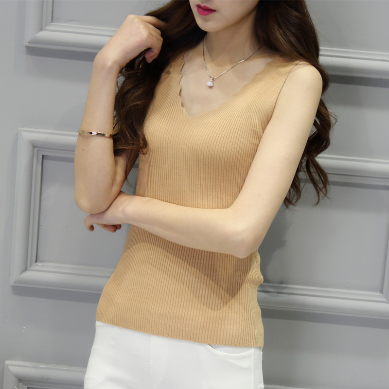 V-neck knitted halter top spring new mini vest womens sexy slim fit short with sleeveless bottom coat