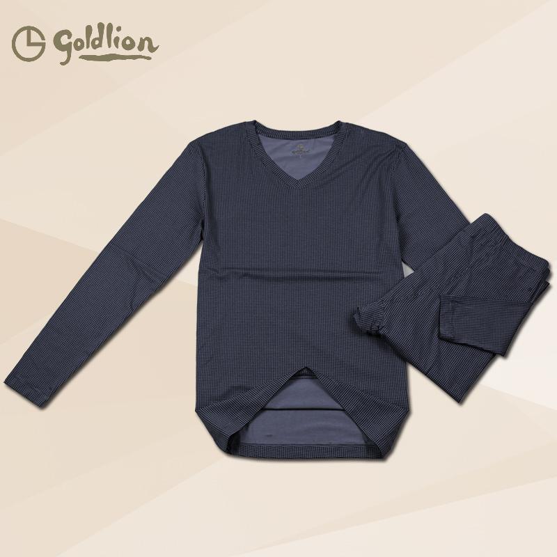 包邮正品金利来男士内衣 千鸟格满印V领男套装薄款莫代尔G9N0163