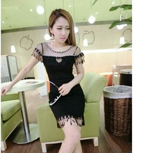 Summer new sexy gauze perspective hollow out order bead tassel bag hip that wipe a bosom dress, cultivate one's morality show thin night dress