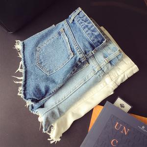 夏季新款欧美风简约超显瘦百搭牛仔裤短裤毛边须须热裤修身女