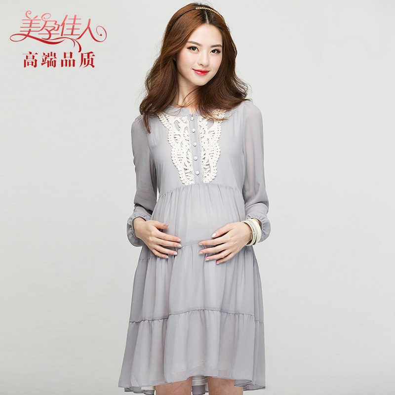 New pregnant womens dress pregnant womens autumn dress Korean pregnant womens spring and autumn Dress Chiffon Dress