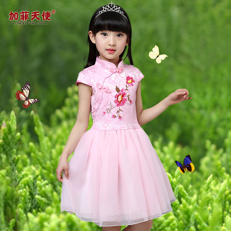Ребятишки девочки cheongsam платье летний костюм короткий рукав новый лето ребенок весна производительность платья платье принцессы вуаль сын