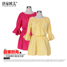 Tang Europe and amoi sexy shoulder horn sleeve elastic waist to receive a word sets show thin waist short dresses