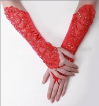 Bridal Wedding dress, red wedding accessories, no finger lace, embroidered, long, short gloves, satin satin accessories.