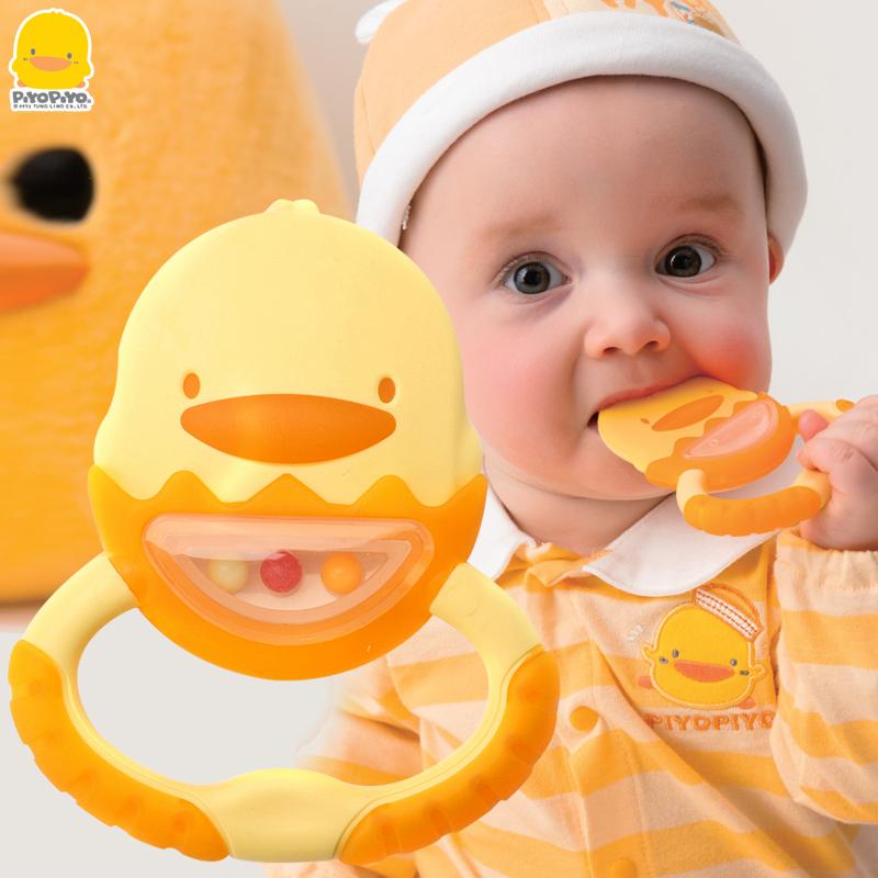 PIYOPIYO婴儿牙胶玩具不含bpa磨牙器宝宝咬咬健齿固齿器送保洁盒