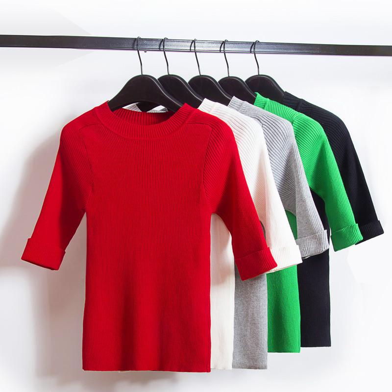Осенью 2015 года Корея твердый тонкий похудения экипаж шеи свитер рукав базовый свитер с длинным рукавом рубашки женщин