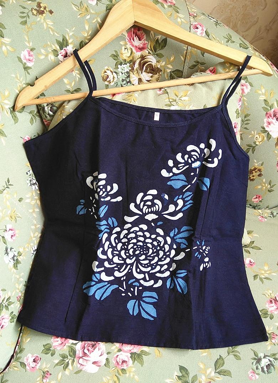 民族风乌镇特色蓝印花布女装纯棉定位印花吊带衫显瘦兰花小吊带