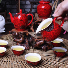 Dehua tea set Wedding festival tea set Macro red rattan flower tea A complete set of kung fu tea cup teapot