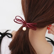 Know Nicole sweet macarons colored hair first Pearl knotting rope Butterfly elastic hair band hair accessory jewelry