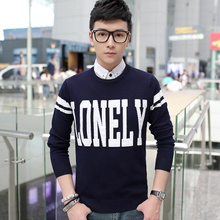 Autumn round collar pullovers men fertilizer plus-size Japanese knitting unlined upper garment of cotton men's clothing han edition cultivate one's morality