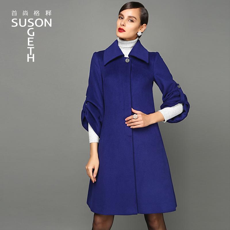 Клод релиз осенью 2015 новая женщина шея обрезать рукава свободные талии пальто длинное пальто DY-9140