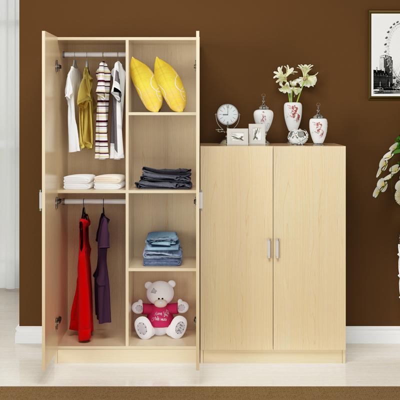 簡約 衣櫃2門3門木質簡易臥室組裝板式大衣櫃兒童收納櫃包郵