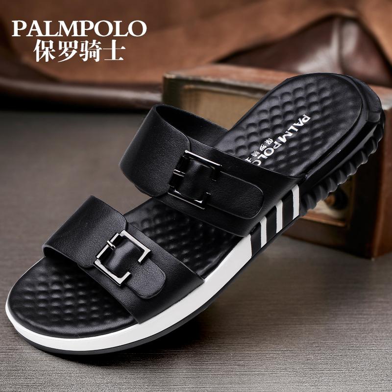 保罗骑士夏季凉拖鞋男真皮一字拖鞋韩版潮流休闲沙滩男士凉鞋潮鞋