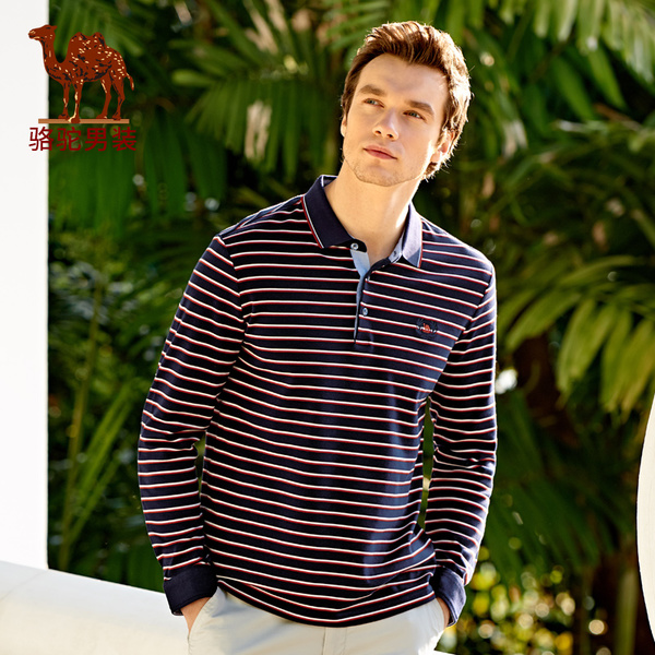 Camel men's 2017 spring new embroidered standard business casual lapel striped cotton long-sleeved T-shirt Polo M