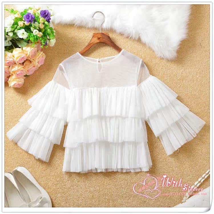 Корейский блузка сладкий весенний 2016 пять минут дамы новый летний куклы платье короткий рукав рубашки