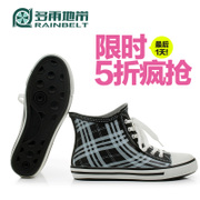 RAINBELT rain-belt Korean version of greyish light square low tube canvas boots ladies rain boots women's water shoes
