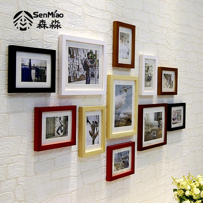 森淼 簡約實木照片牆 客廳 掛牆相框牆歐式餐廳相片牆