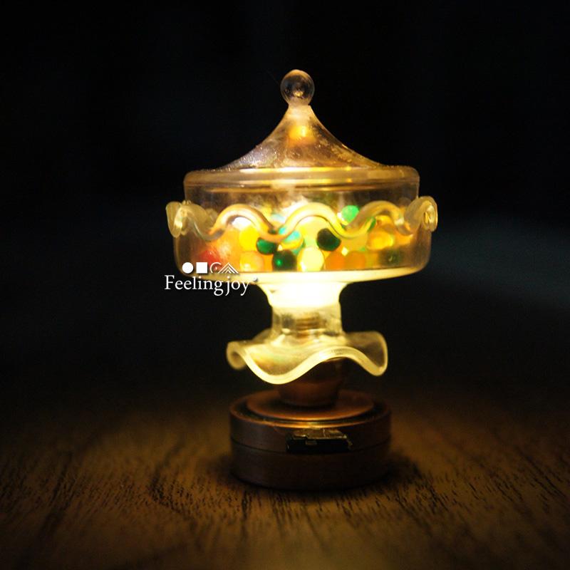 1:12迷你娃娃屋diy小屋模型配件道具食玩无线LED多功能糖果台灯