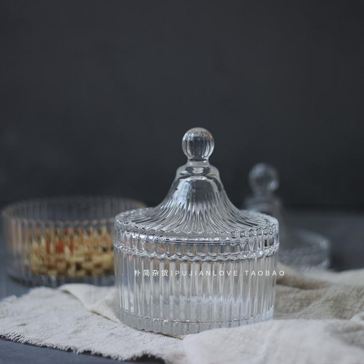Простой простой | нордический прозрачный кристалл стекло хранение бак крышка ювелирные изделия хранение бак стеклянные бутылки сахар бак