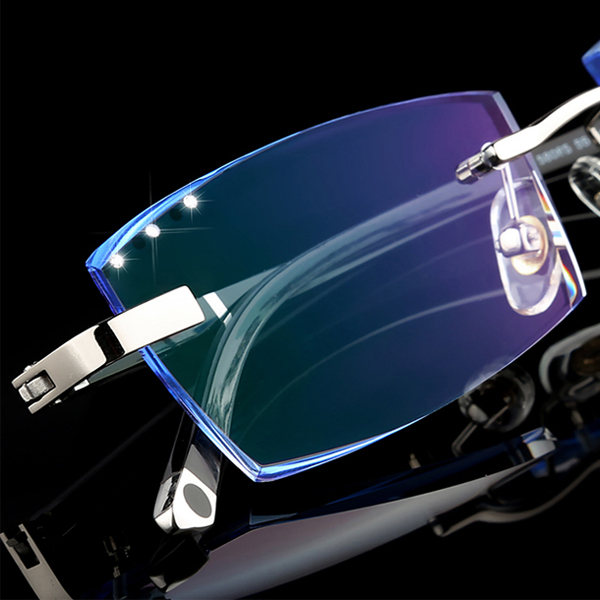 South Korean diamond rimless glasses for men and women with myopia, discoloration and presbyopia