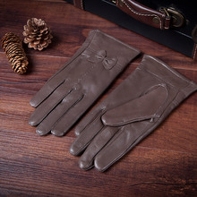 2015 gloves women's leather sheep skin and wool qiu dong warm thin of bowknot new products on sale