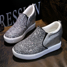 Increased 2015 fashion frosted sequined shoes sport leisure sneakers a pedal lazy flat shoes with flat shoes