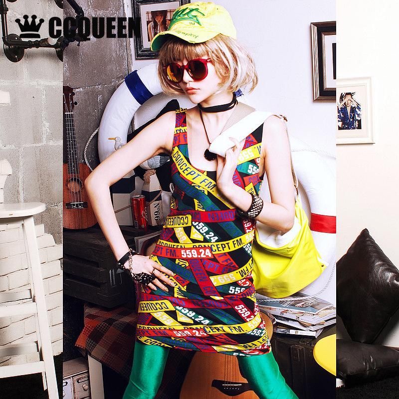 Ccqueen夏裝新品原創潮流塗鴉中長款修身款背心女打底連衣裙