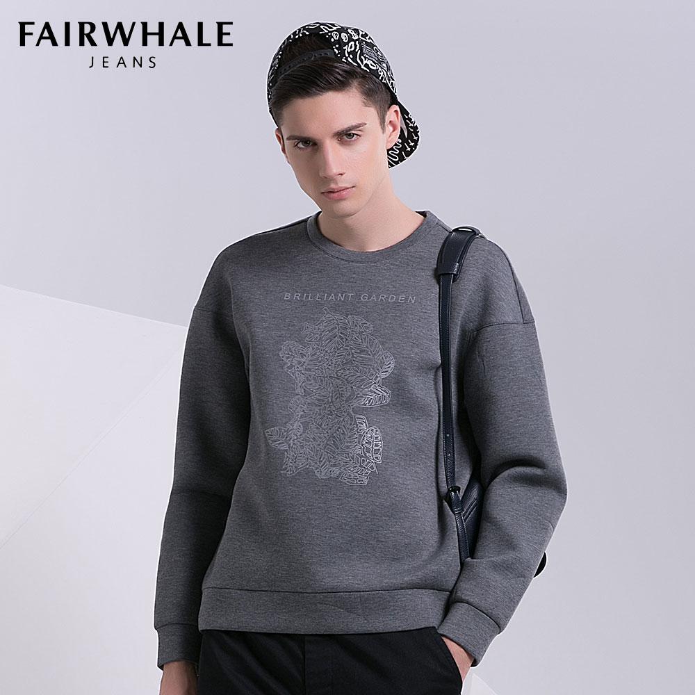馬克華菲衛衣T恤 2016春新品 男士印花灰色圓領套頭太空棉 上衣