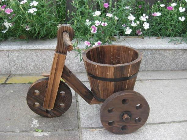 碳化防腐木制有篮三轮花车 花盆花车 木质景观车